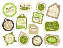Set etykietki i majchery w retro stylu dla rolnych karmowych sklepów ilustracja wektor