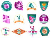 Set etykietki, logowie dla cheerleading zdjęcia stock