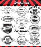 Set etykietki, odznaki i logowie kanapek, royalty ilustracja