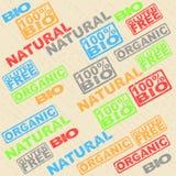 Set etykietki - organicznie, naturalny, gluten, życiorys royalty ilustracja
