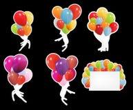Set etykietki z barwionymi ballons, wektor ilustracja wektor