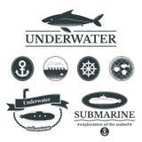 Set etykietki z podwodnymi ilustracjami Fotografia Royalty Free
