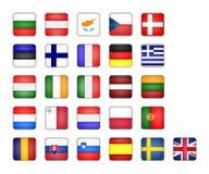 Set of EU flag. Icon, square button on white background Royalty Free Stock Photo