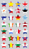 Set with EU  Flags Made as Stars. Set with European Union  Flags Made as Five-Pointed Star Shaped on the Light Grey Background Royalty Free Stock Image