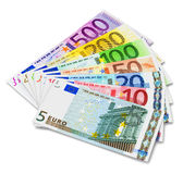 Set of Euro banknotes. Full set of Euro banknotes isolated on white background Vector Illustration