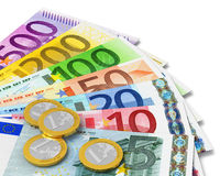 Set of Euro banknotes and coins. Isolated on white background Stock Photos