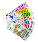 Set of Euro banknotes and coins Stock Photos