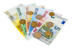 Set of euro banknotes and coins Stock Images