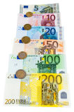 Set of euro banknotes and coins Royalty Free Stock Photos