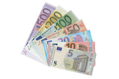 Set of Euro banknotes, 3D rendering. On white background royalty free illustration