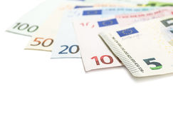 Set of euro banknotes. Royalty Free Stock Photo