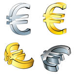 Set of Euro currency icons, isolated Royalty Free Stock Photos