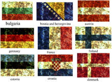 Set europäische Markierungsfahnen Stockfotografie