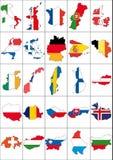 Set europe. Illustration set of flag and border europe nations Royalty Free Stock Photo