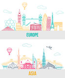 Set of Europe and Asia travel background with. Place for text. Isolated European and Asian outlined sightseeings and symbols. Skyline detailed silhouettes Royalty Free Stock Photo