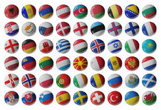 Set of Europe soccer balls. Europe football. Set of soccer balls with flags. 3D render Royalty Free Stock Photography