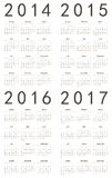 Set of european 2014, 2015, 2016, 2017 calendars. Set of european 2014, 2015, 2016, 2017 vector calendars. Week starts from Monday stock illustration
