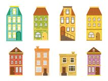 Set of european colorful houses flat vector vector illustration