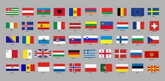 Set of with European countries flags. Set of rectangle buttons with European countries flags Royalty Free Stock Photography