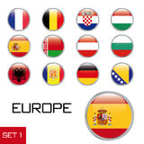Set of European flag buttons. Set of circular glossy buttons in colors of various European countries, isolated on white background royalty free illustration