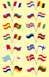 Set with European Flags Stock Images