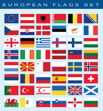 Set of european flags, vector illustration. Royalty Free Stock Image