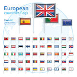 Set of european flags, vector illustration. Royalty Free Stock Photo