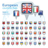 Set of european flags, vector illustration. Royalty Free Stock Photography
