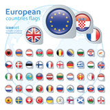 Set of european flags, vector illustration. Royalty Free Stock Photos