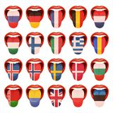 A set of European languages vector icons royalty free illustration