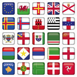 Set of European Square Flag Icons Stock Photo