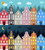 Set of European style colorful cartoon buildings. Royalty Free Stock Image