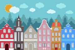 Set of European style colorful cartoon buildings. Stock Photography