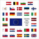Set European Union country flags Stock Photos