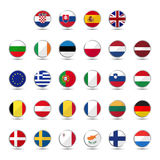 Set of European Union country flags Royalty Free Stock Photos