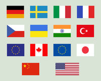 Set of european union, usa, ukraine, china, japan Stock Photography