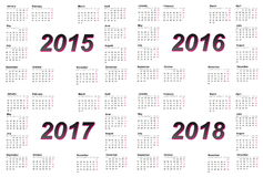 Set of european 2015, 2016, 2017 and 2018 year. Calendars with week starting from monday Vector Illustration