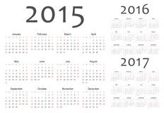 Set of european 2015, 2016, 2017 year vector calendars. Week starts from Sunday royalty free illustration