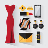 A set of evening dress for women Stock Photo