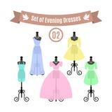 Set of Evening Dresses. Vintage dresses on mannequins. Vector. Stock Image
