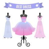 Set of Evening Dresses. Vintage dresses on mannequins. Vector. Stock Photo
