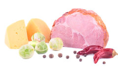 The set of everyday products: ham, cheese, sprout and spices Stock Photos