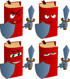 Set of evil book guard with shield and sword Stock Photos