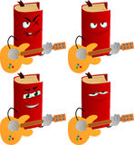 Set of evil book guitar player Stock Photography