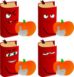 Set of evil book holding pumpkin Royalty Free Stock Photography