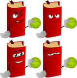 Set of evil book holding a tennis ball Stock Image