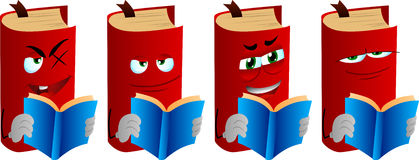 Set of evil book reading Stock Images