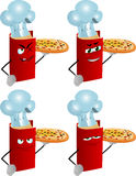 Set of evil chef book showing a delicious pizza Royalty Free Stock Images