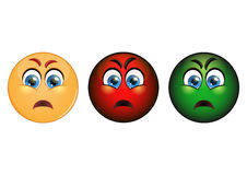 Set evil emoticon, red, yellow and green. V Royalty Free Stock Photo
