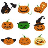Set of Evil Halloween Faces stock photos